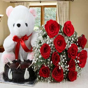 Cake Teddy And Roses