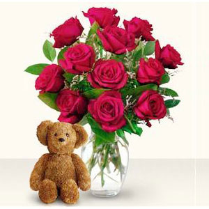 Dozen Red Roses And Teddy