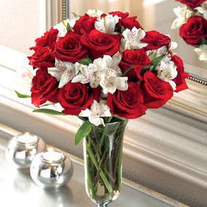 Red Roses And Alstromeria