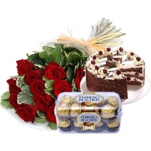 Red Roses Cake And Chocolates